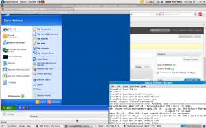 A shot of vpnc running in terminal, and my desktop running in rdesktop.