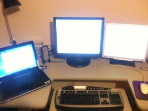 3 monitors, 2 machines, 1 keyboard & mouse