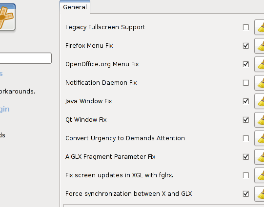 Select the &quot;Force synchronization between X and GLX&quot; checkbox