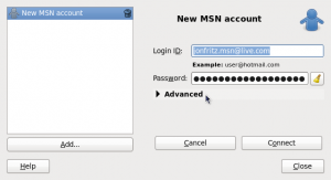 Adding my account details to the new MSN account in Empathy
