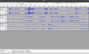 Audacity audio editor with a demo project loaded