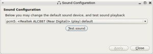 From the PC-BSD Control Panel, a very simple way to select the default sound device.