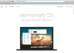 Showing the elementary OS website