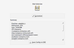 Default disk layout