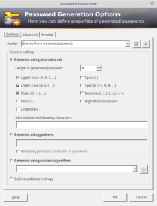 The Password Generator in the official KeePass application